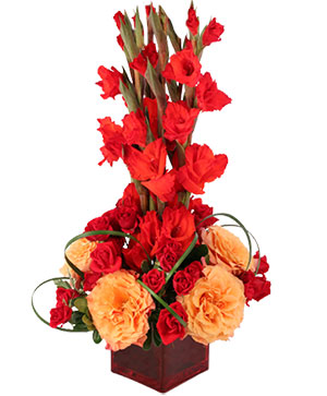 Gladiolus Flame Flower Arrangement in Storrs, CT | STIX 'N' STONES