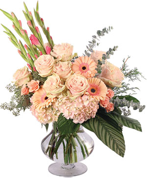 Gladly Pastel & Pink Flower Arrangement in Ozone Park, NY | Heavenly Florist