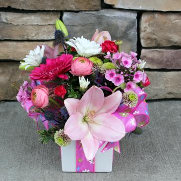 Glamorous Gift - Pink Birthday Arrangement