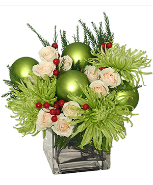 GLAMOROUS GREEN Holiday Bouquet in Croton On Hudson, NY | Cooke's Little Shoppe Of Flowers