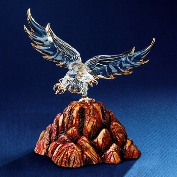 Glass Baron Eagle in Wood Base Glass Baron Eagle in Wood Base