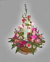 Glass Cross Basket Arrangement