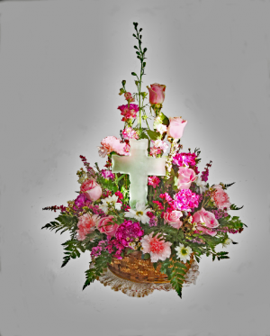 Glass Cross Basket Arrangement in Penn Yan, NY | Garden of Life Flowers
