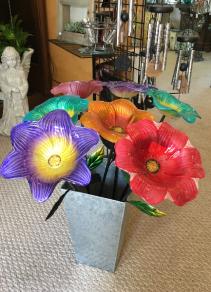 Glass Flower Garden Stake