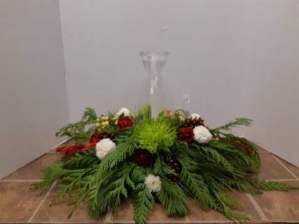 Glass hurricane centerpiece Christmas