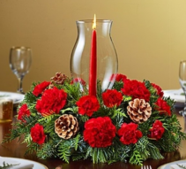 Glass Hurricane Holiday Centerpiece