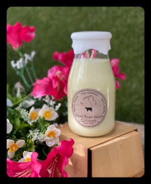 Glass Milk Bottle Candle  in Bryan, TX | NAN'S BLOSSOM SHOP