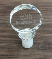Glass Wine Stopper 25, 40, 50, 60  Personalized engraved Giftware 60th Wine Stopper