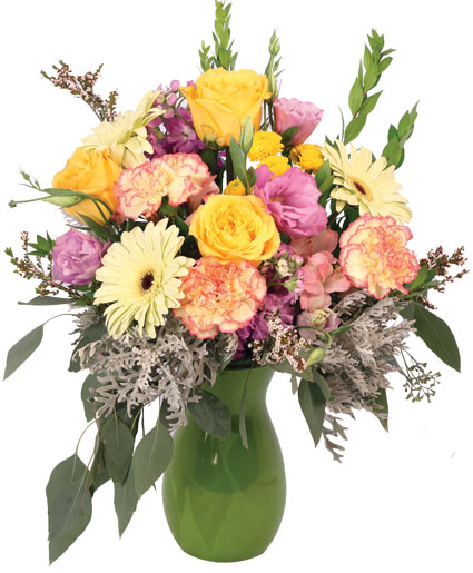 Gleefully Golden Flower Arrangement