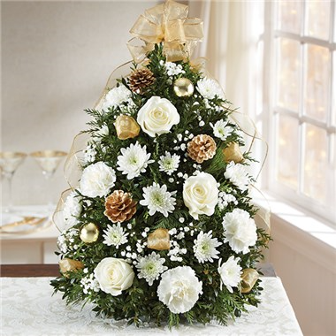 Glistening Gold Holiday Flower Tree Holiday Floral Arrangement