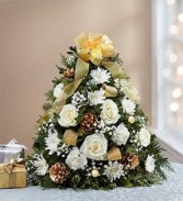 Glistening Gold Holiday Flower Tree Holiday Flower Tree