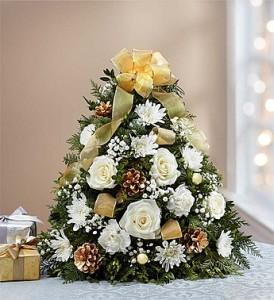 Glistening Gold Holiday Flower Tree Holiday Flower Tree