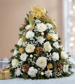 Glistening Gold Tree Christmas Arrangement in Winston Salem, NC | RAE'S NORTH POINT FLORIST INC.