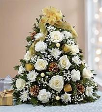 Glistening Holiday tree Fresh flower arrangement