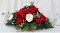 Glitter Poinsettia Centerpiece Permanent Arrangement by Inspirations Floral Studio
