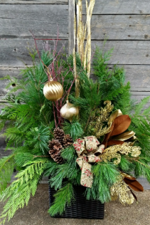 Glitz and Gold Outdoor Planter Christmas