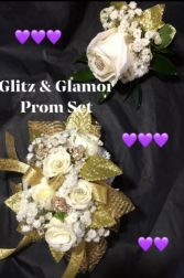 Glitz & Glamor Prom Set.  Chose your flower color and ribbon color