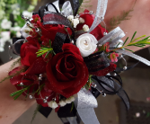 Glitzy Red Rose  Wrist Corsage