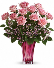 Glorious You Bouquet Perfectly pink! Beautifully simple, this exquisite mix of soft pink roses and delicate pink waxflower finds its perfect complement in a fabulously fuchsia blown glass vase.