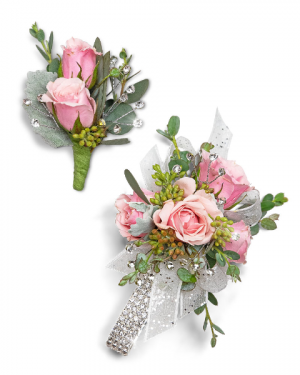 Glossy Corsage and Boutonniere Set Corsage/Boutonniere in Nevada, IA | Flower Bed