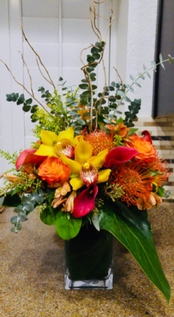 Glowing Amber Floral Arrangement