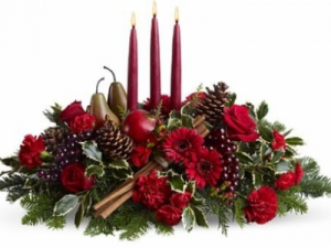 GLOWING HOLIDAY ELEGANCE Christmas Candle Centerpiece in Worthington, OH | UP-TOWNE FLOWERS & GIFT SHOPPE