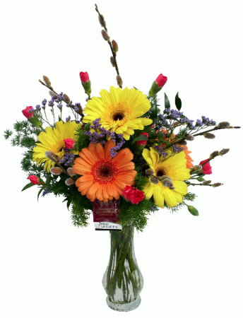 Glowing Gerbera  Vase Arrangement