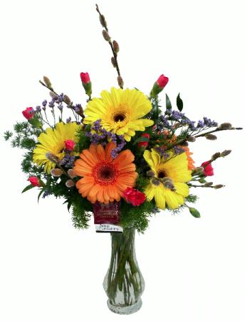 Glowing Gerbera  Vase Arrangement