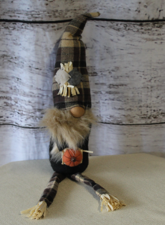 Gnome with Pumpkin Scarecrow Add On