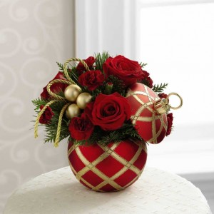 Gold and Red Christmas Bulb  Arrangment
