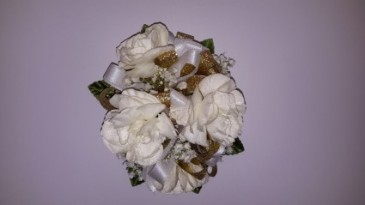 Gold And White Carnation Wrist Corsage