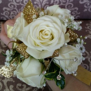 Gold and White Wristlet Corsage