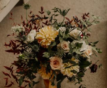 Gold Burgundy Blush and Navy Garden Style Bridal Bouquet