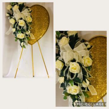 Gold Heart Standing Funeral Arrangement