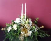 Gold Holiday Center Piece Christmas