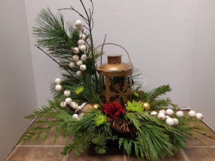 Gold Lantern centerpiece Christmas