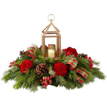 Gold Lantern Christmas Centerpiece