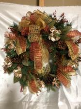Gold Magnolia Wreath Silk