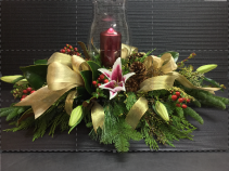 Gold n' Glowing Holiday Centerpiece