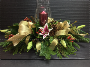 Gold n' Glowing Holiday Centerpiece in Boise, ID | HEAVENESSENCE FLORAL & GIFTS