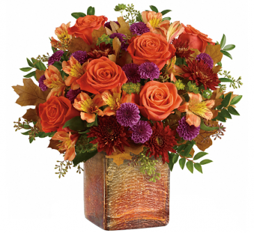 F100 - Golden Amber Glow Arrangement in cube