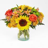 Golden autumn glas vase