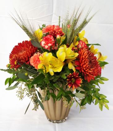 Golden Autumn Vase Arrangement