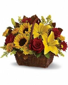 golden basket fresh arrangement in newmarket on flowers n things rh flowersnthingsflowerandgiftshop com