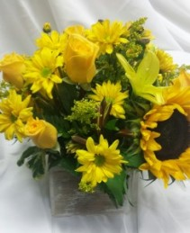 Golden Bloom Box Vibrant  Blooms in Wooden Box, LOCAL ONLY