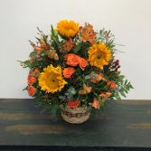 Golden Blooms Flower Basket