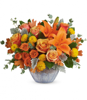 Golden Bounty Centerpiece DX T20T110B Teleflora in Hesperia, CA | ACACIA'S COUNTRY FLORIST