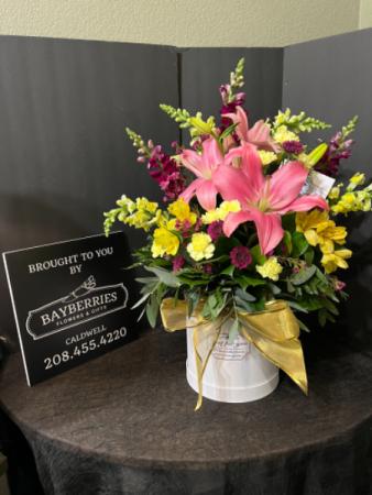 Golden Box of Lilies Hat Box Flower Arrangement