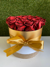 Golden Box-Preserved Red Roses