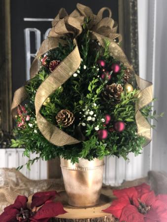 Golden Christmas Box Wood Tree center piece
